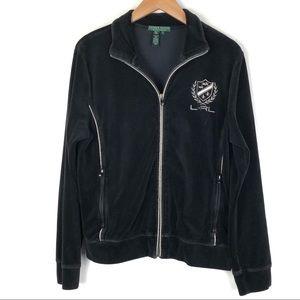 Ralph Lauren LRL sweater XL crest velour black 401